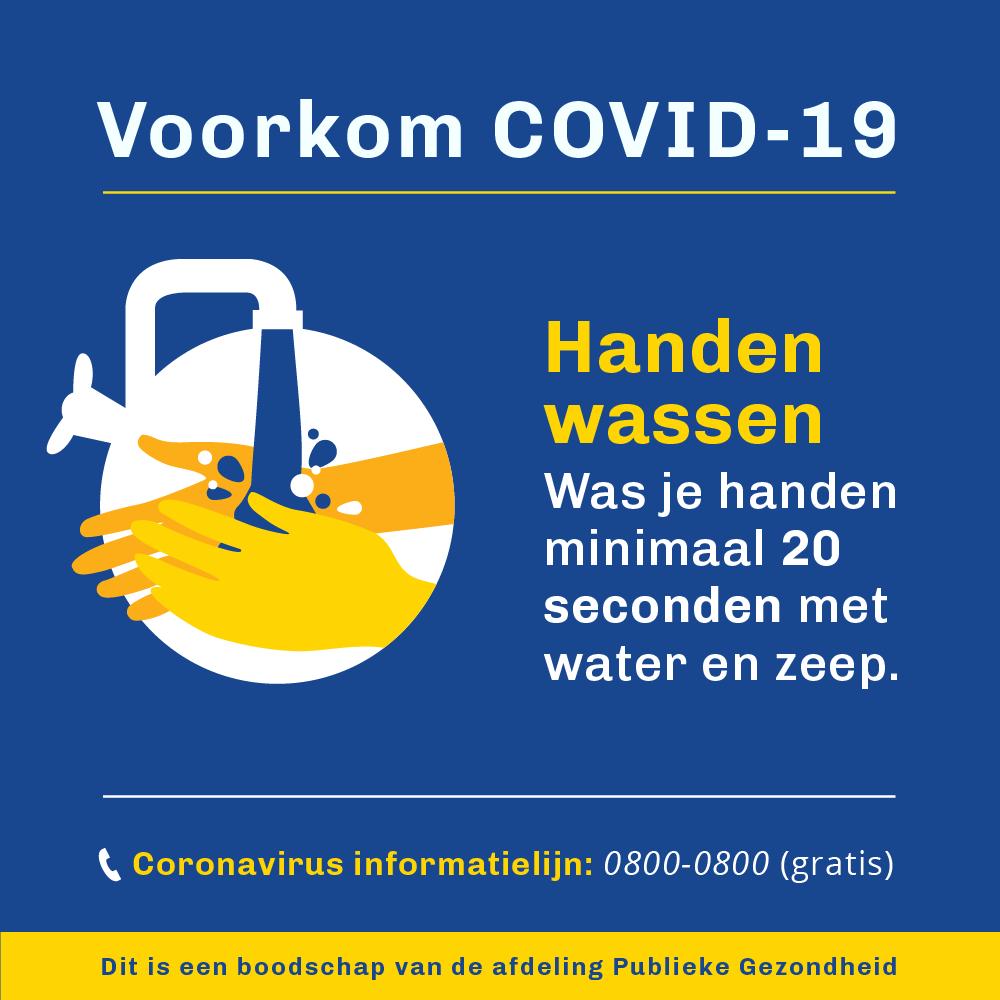 Voorkom COVID - handen wassen