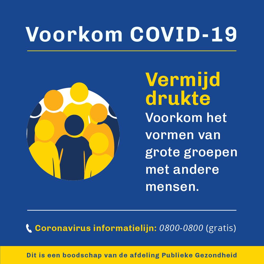 Voorkom COVID - vermijd drukte